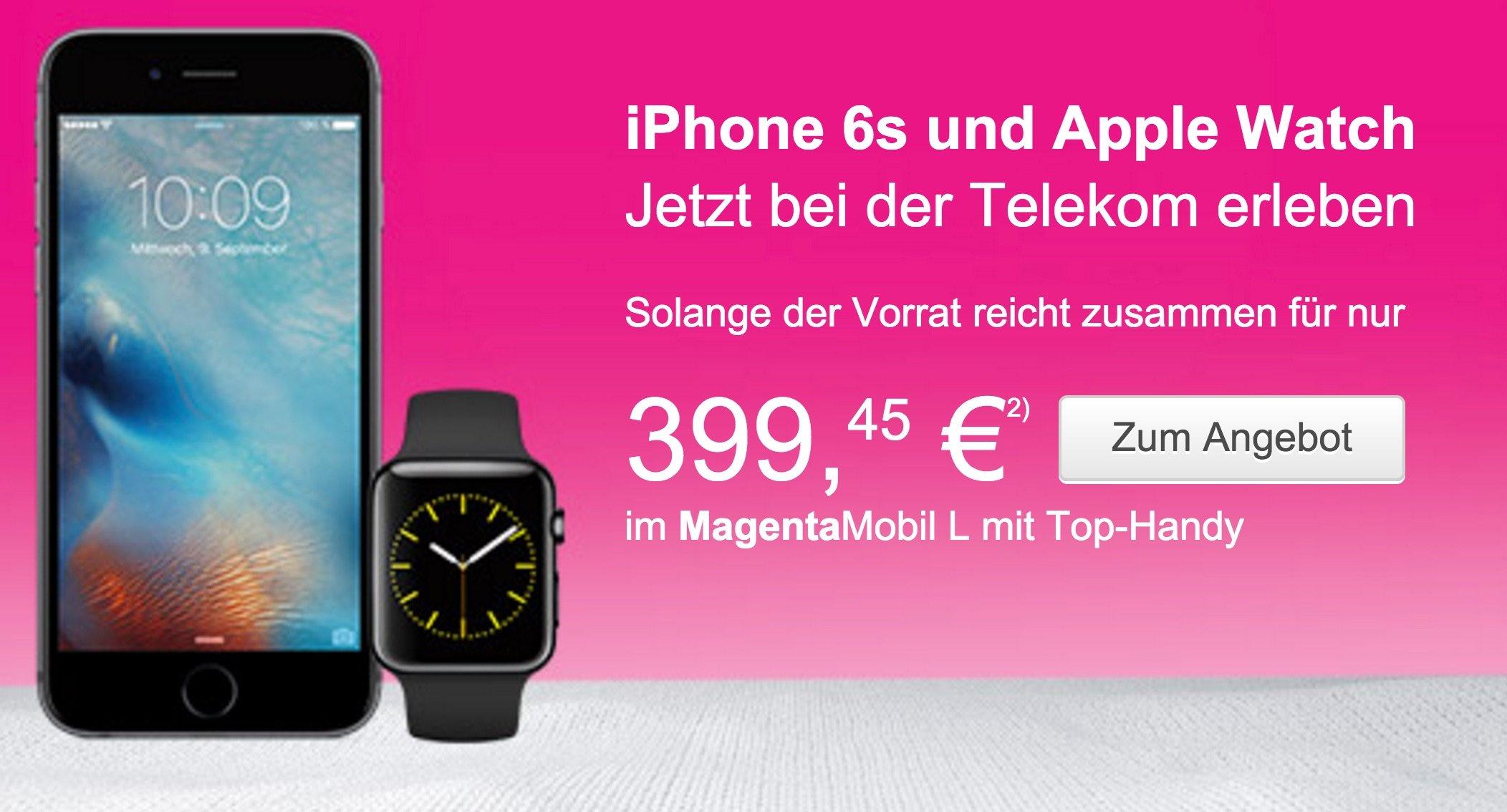 Apple Bundle der Extraklasse: iPhone 6s und Apple Watch bei Telekom 7