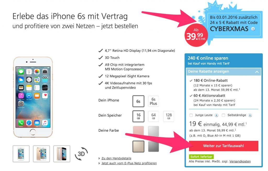 iphone 6s bei o2 mit gutschein code billiger aktion endet heute. Black Bedroom Furniture Sets. Home Design Ideas