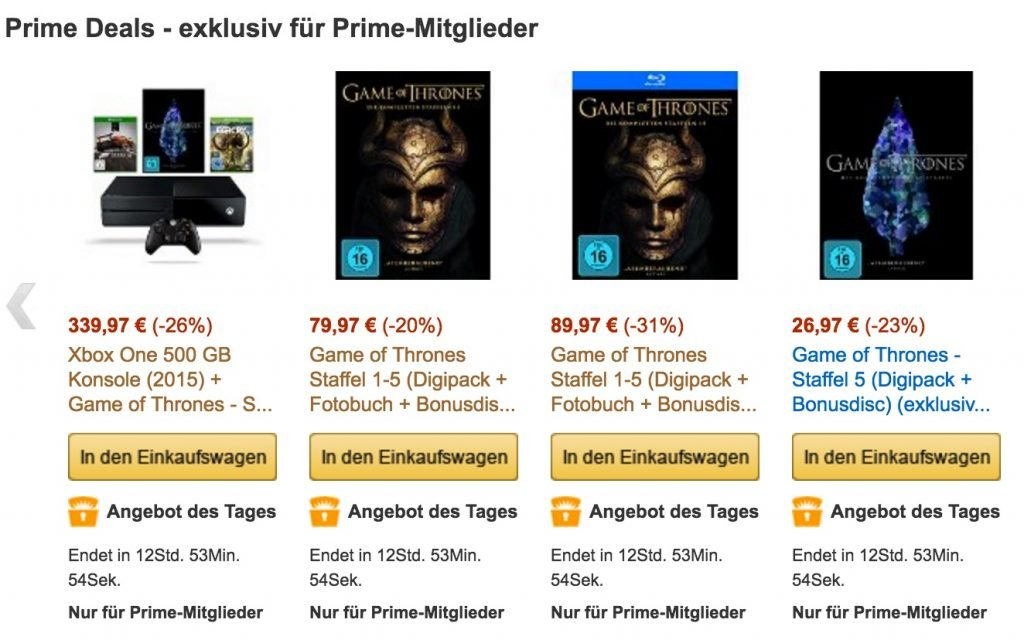 Game of Thrones Amazon deal