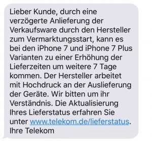 telekom warnt wir haben zu wenige iphone 7 erhalten lieferzeit verl ngert sich. Black Bedroom Furniture Sets. Home Design Ideas