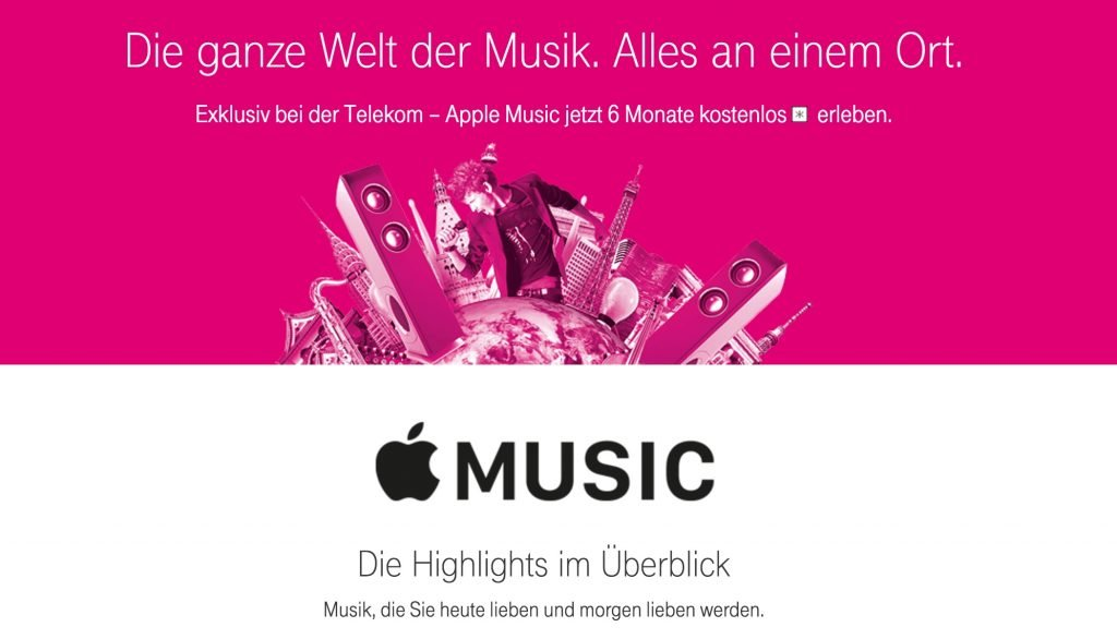 apple music 6 monate kostenlos bei telekom. Black Bedroom Furniture Sets. Home Design Ideas