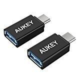 AUKEY USB C Adapter auf USB 3.0 A [ 2 Stücke ] für Type C Geräte inklusive dem neuen MacBook, Google Chromebook Pixel Nokia N1 Tablet usw. Schwarz