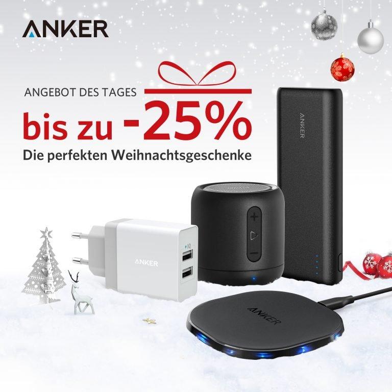 Anker Weihnachts-Aktion: 25% Rabatt auf externe Akkus & Ladegeräte