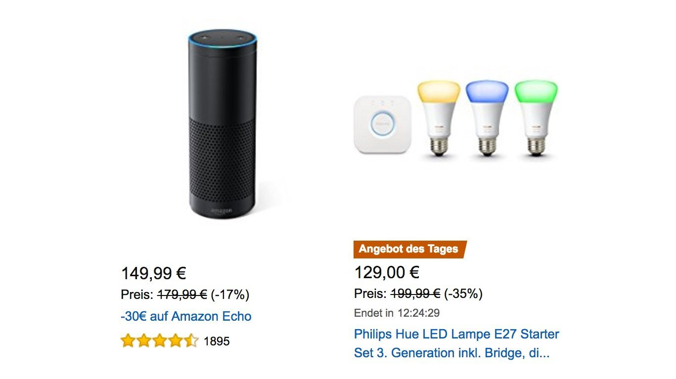 im angebot amazon echo 30 billiger philips hue starterset 70 g nstiger. Black Bedroom Furniture Sets. Home Design Ideas