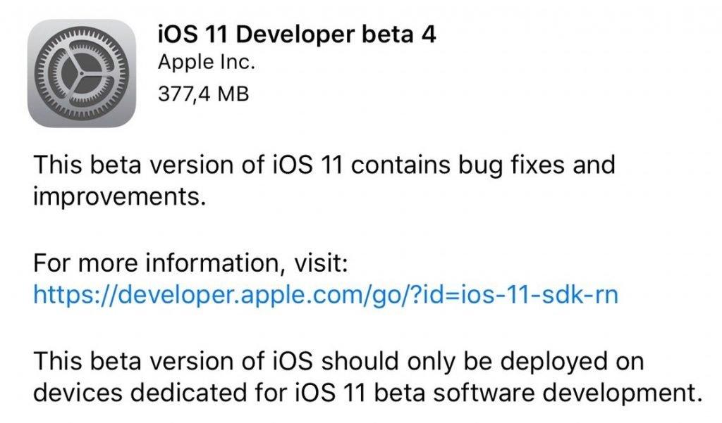iOS 11 beta 4 Download und Update