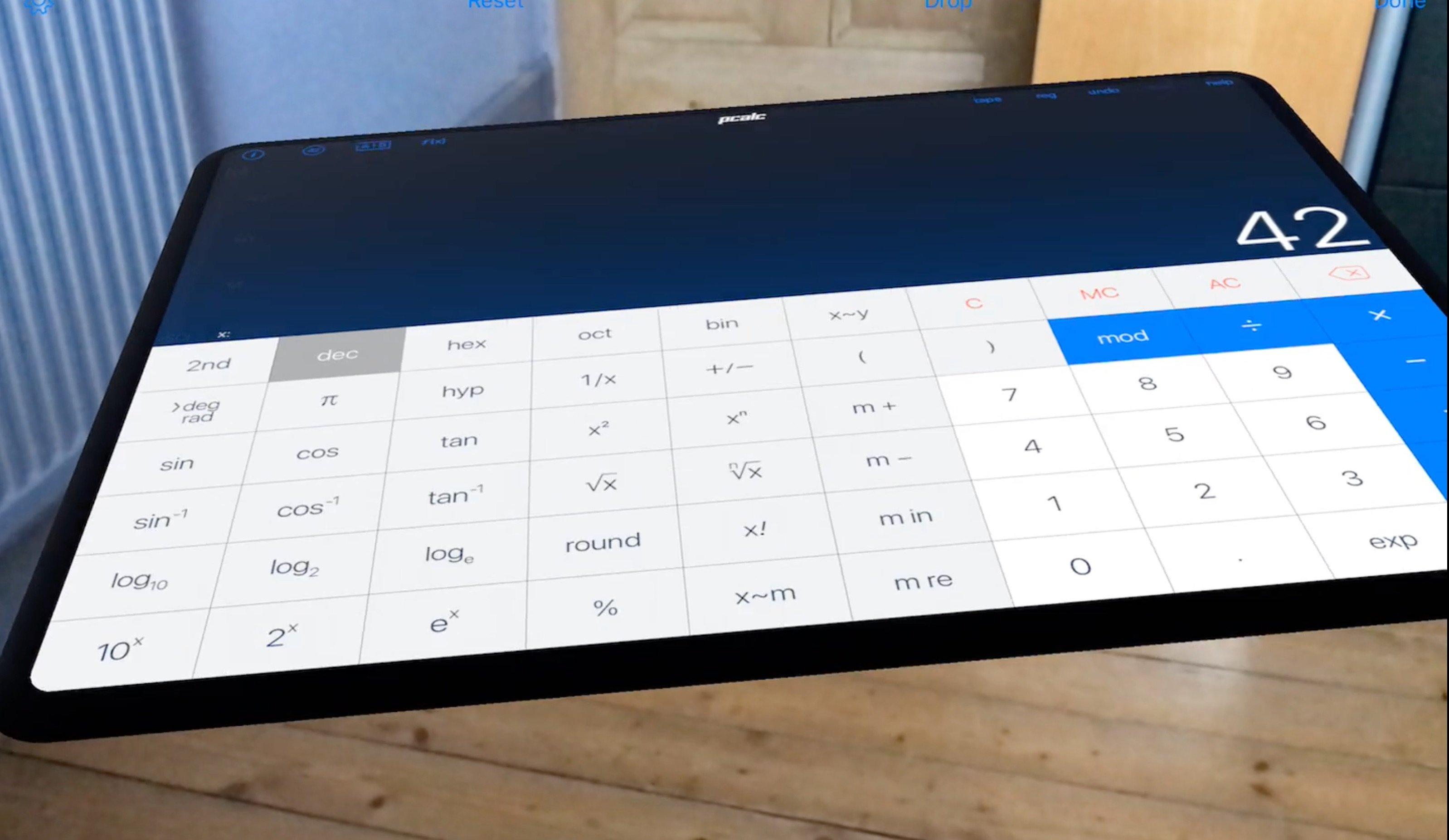 """PCalc: """"Bester Taschenrechner für iOS"""" im virtuellen Raum mit iOS 11 ARKit 20"""