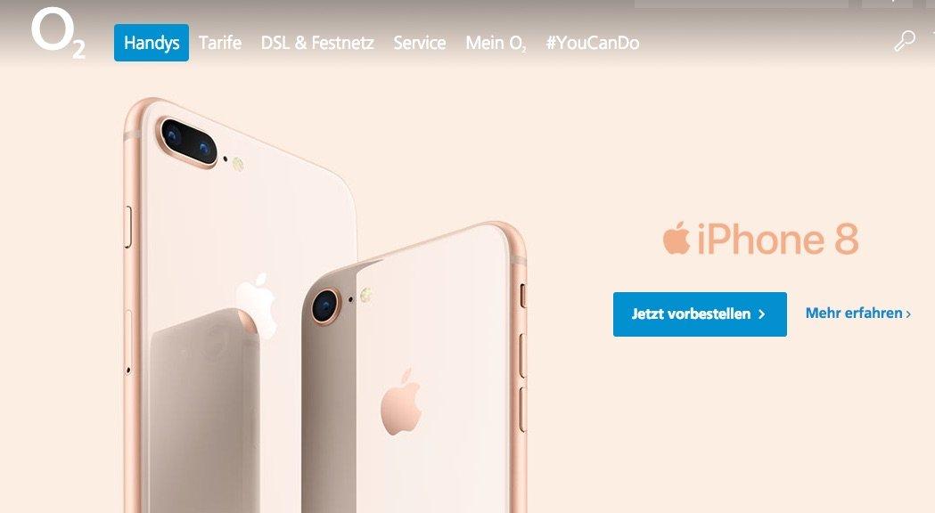 iPhone 8 bei O2 ab sofort erhältlich: iPhone 8 (Plus) ab 49 Euro bei O2! 1