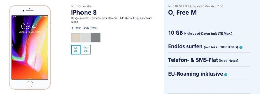 iPhone 8 bei O2 ab sofort erhältlich: iPhone 8 (Plus) ab 49 Euro bei O2! 2