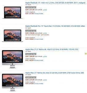 Heute günstiger: Neue 4K / 5K iMacs & MacBook Pro mit Touch Bar bei Amazon! 2