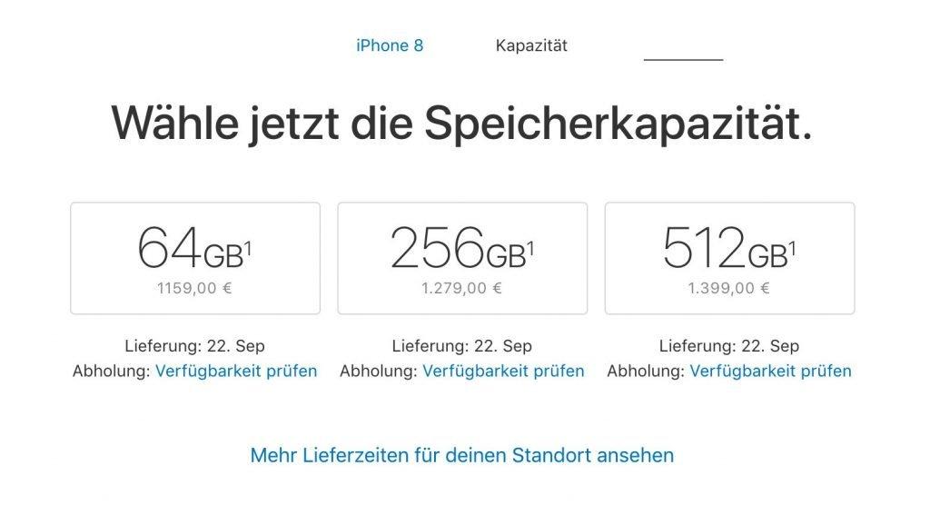 Deutsche iPhone 8 Preise: 64 GB ab 1159 Euro in Deutschland
