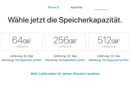 Deutsche iPhone 8 Preise: 64 GB ab 1159 Euro in Deutschland 2