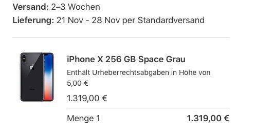 57f90c49df17e8 iPhone X  Lange Lieferzeiten durch Probleme mit Apple Store App und ...