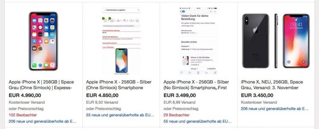 iphone x auf ebay kaufen 4999 euro f rs neue iphone. Black Bedroom Furniture Sets. Home Design Ideas