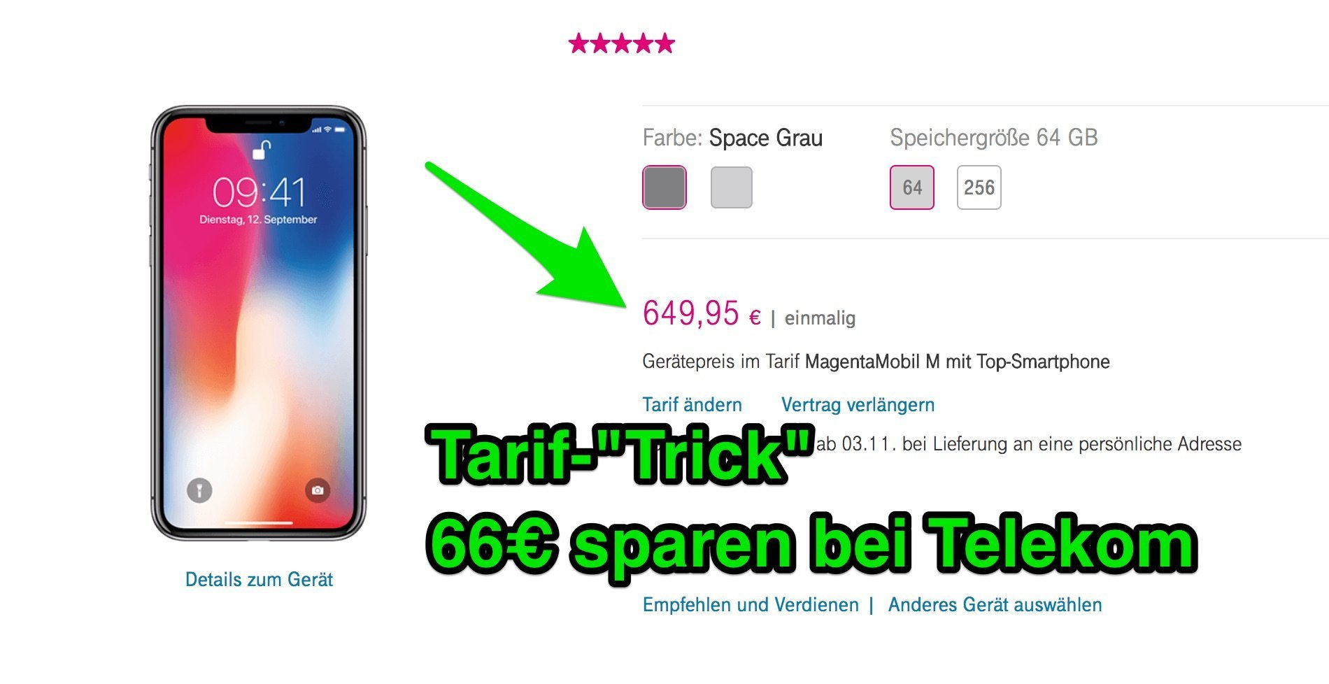 telekom iphone x ohne top smartphone tarif spart 66 euro. Black Bedroom Furniture Sets. Home Design Ideas