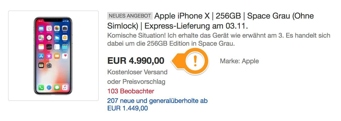 iphone x auf ebay kaufen 4999 euro f rs neue iphone. Black Bedroom Furniture Sets. Home Design Ideas
