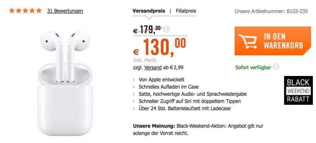 Apple Airpods Für Nur 130 Solange Vorrat Reicht 49 Günstiger