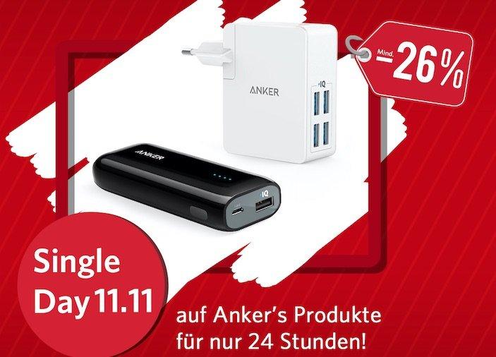 Single-Day: Anker Powerbank & Ladegerät für je 11,11 € 1