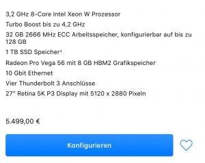 Schnäppchen: iMac Pro Preise von 5499 bis 16000 Euro! 3