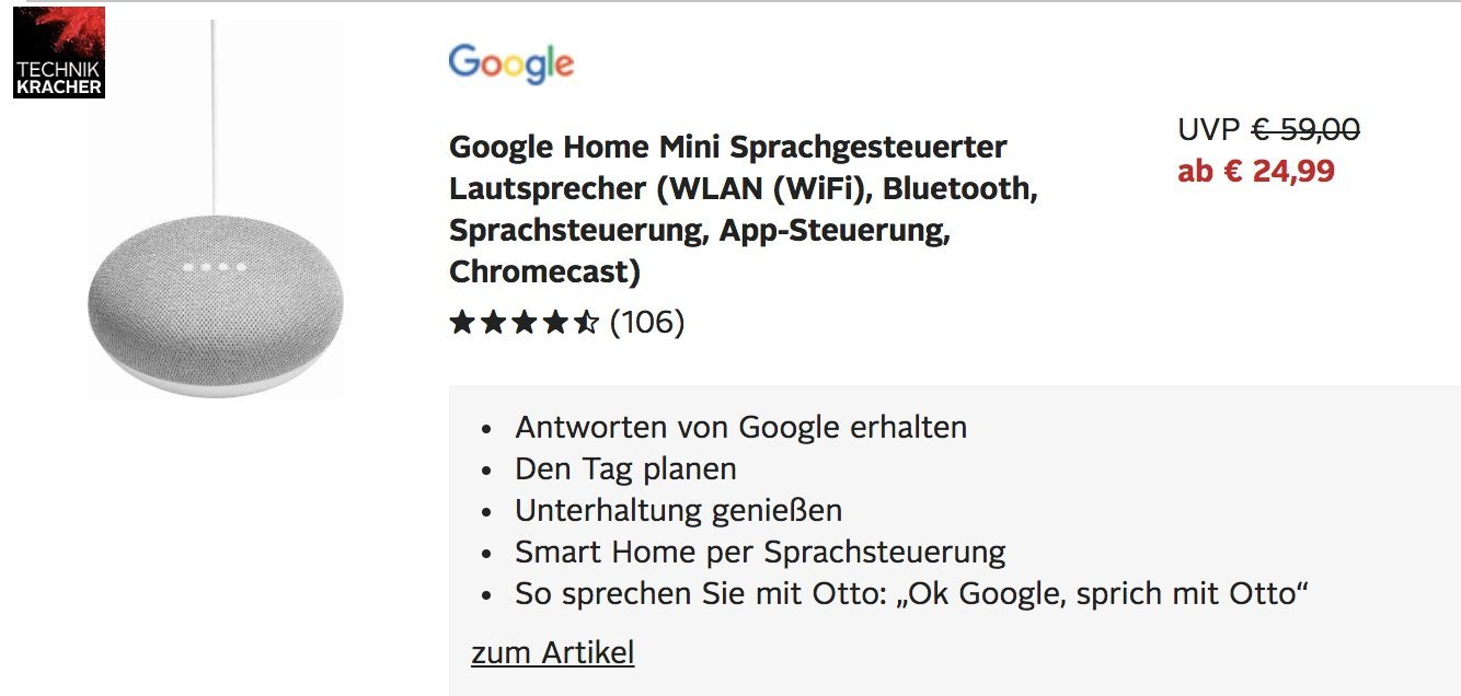 otto technikkracher google home mini f r 24 99 apple ipad f r 279 euro. Black Bedroom Furniture Sets. Home Design Ideas