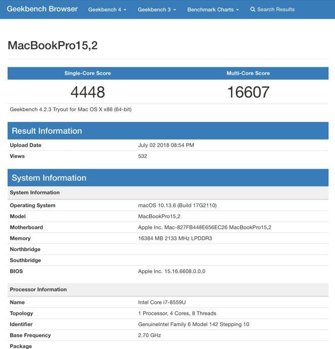 MacBook Pro (2018) mit Coffee-Lake-CPU in Geekbench aufgetaucht 2