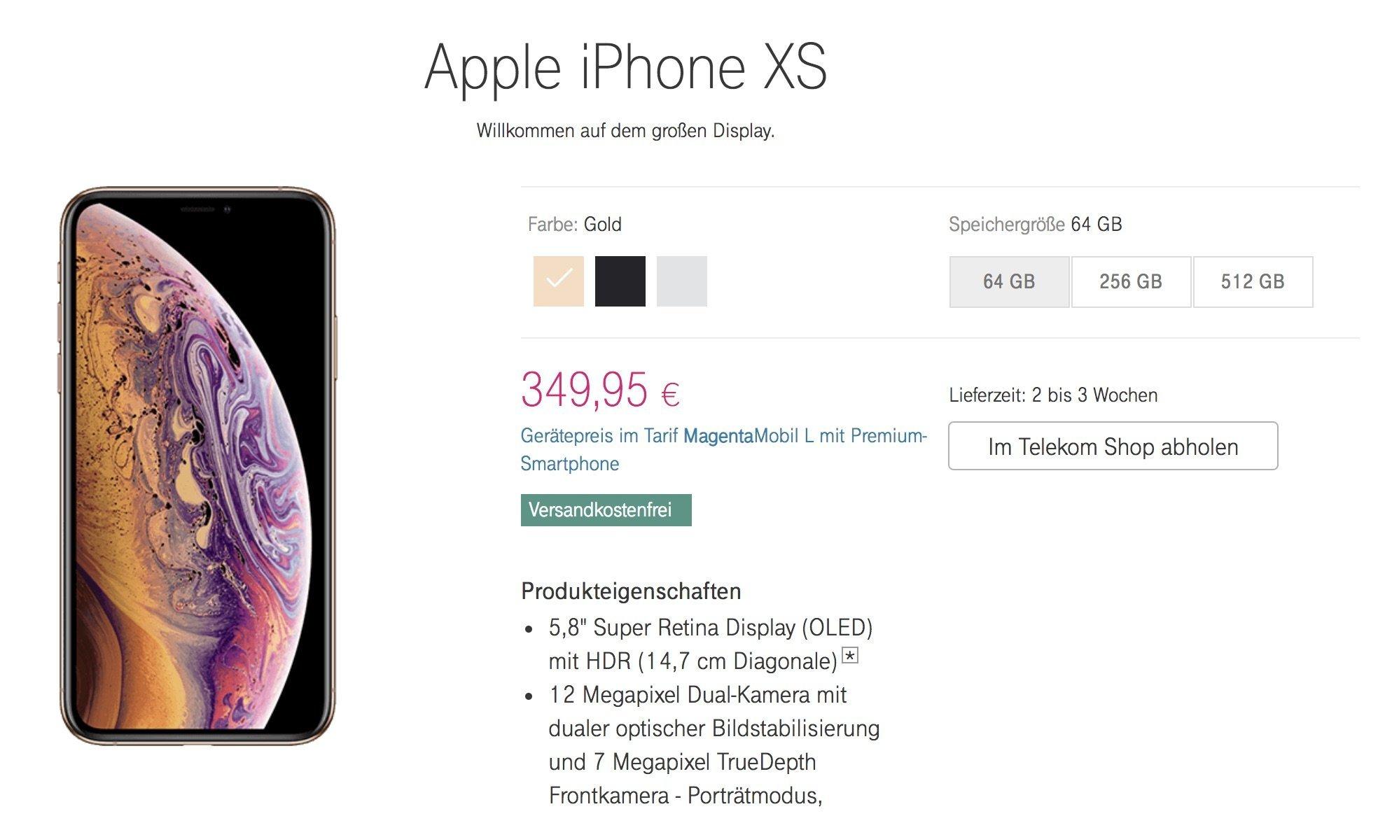 iPhone XS bei Telekom: deutlich günstiger mit Smartphone statt Top- oder Premium-Smartphone 4