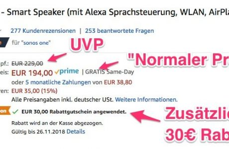 Zugreifen: Sonos One für 164 Euro nur heute mit Gutschein 12