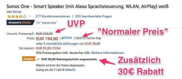 Zugreifen: Sonos One für 164 Euro nur heute mit Gutschein 1