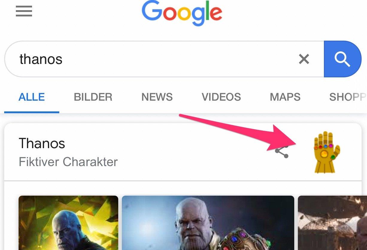 Einfach Thanos Handschuh mal machen lassen: Google Suche auf dem iPhone XS 1