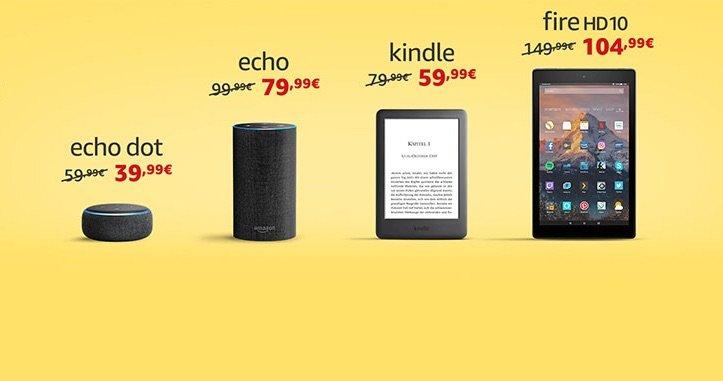 Amazon Echo Input für 24€, Echo Dot für 39€, Kindle für 59€ 1