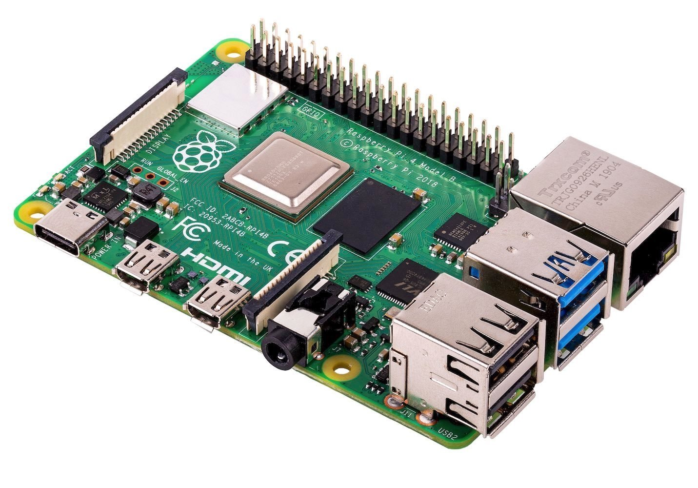 Raspberry Pi 4 mit USB-C, USB 3, Gigabit Ethernet, 4K Video & 4GB RAM 1