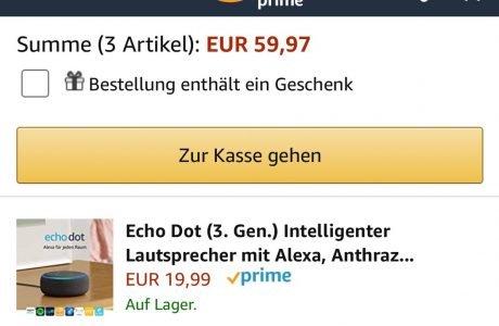 3-für-1: Drei Amazon Echo Dot 3 (neueste Generation) zum Preis von einem 8