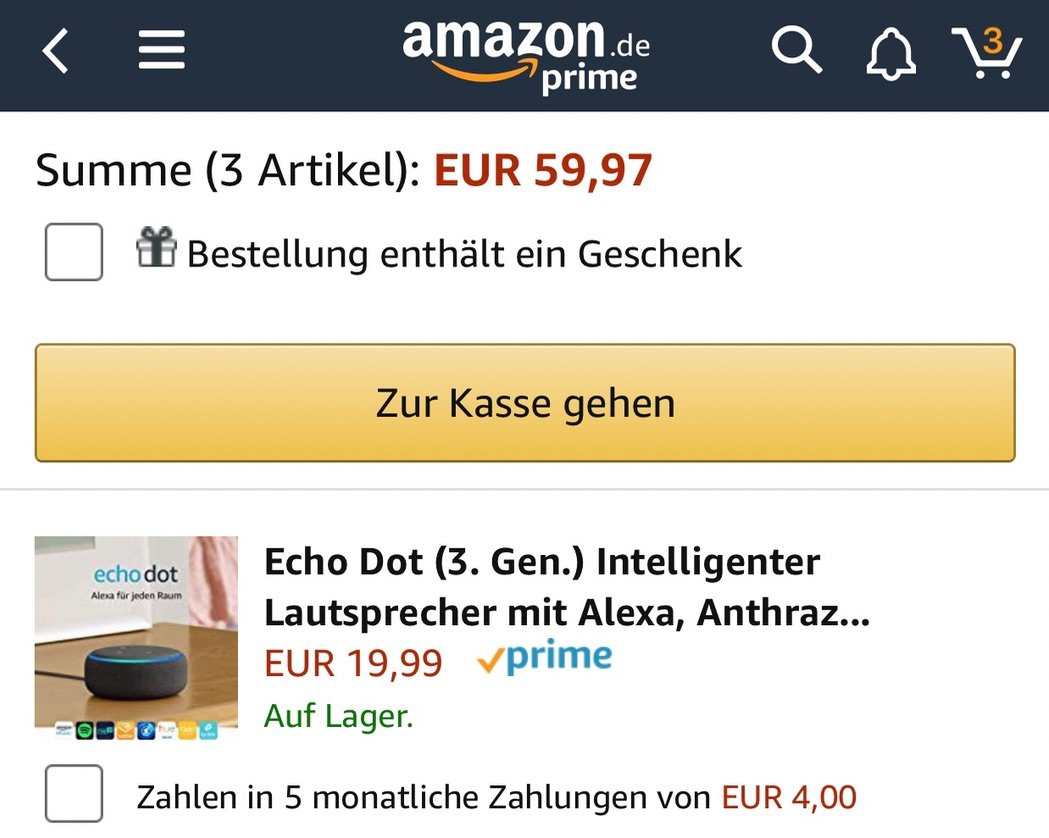 3-für-1: Drei Amazon Echo Dot 3 (neueste Generation) zum Preis von einem 1
