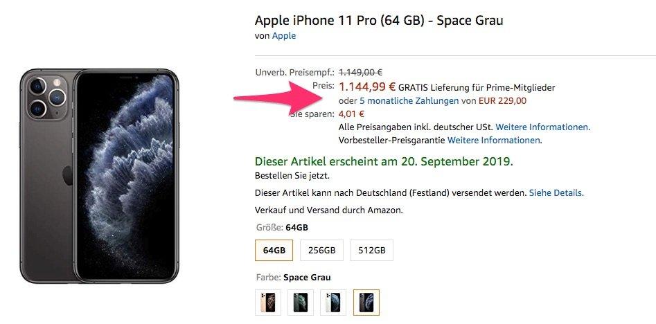 Endlich billiger: 4 Euro Rabatt aufs iPhone 11 (Pro) bei Amazon (inkl. Ratenzahlung) 2