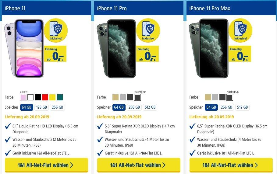 Vergleich: iPhone 11 (Pro) bei 1&1 für 0 Euro! 1