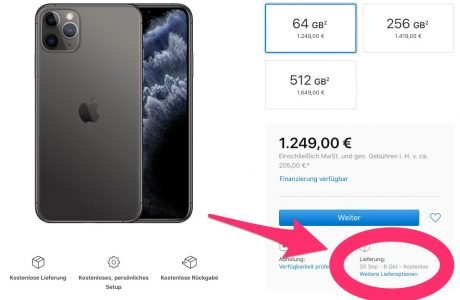 iPhone 11 Pro ausverkauft, iPhone 11 noch lieferbar zum 20. September 3