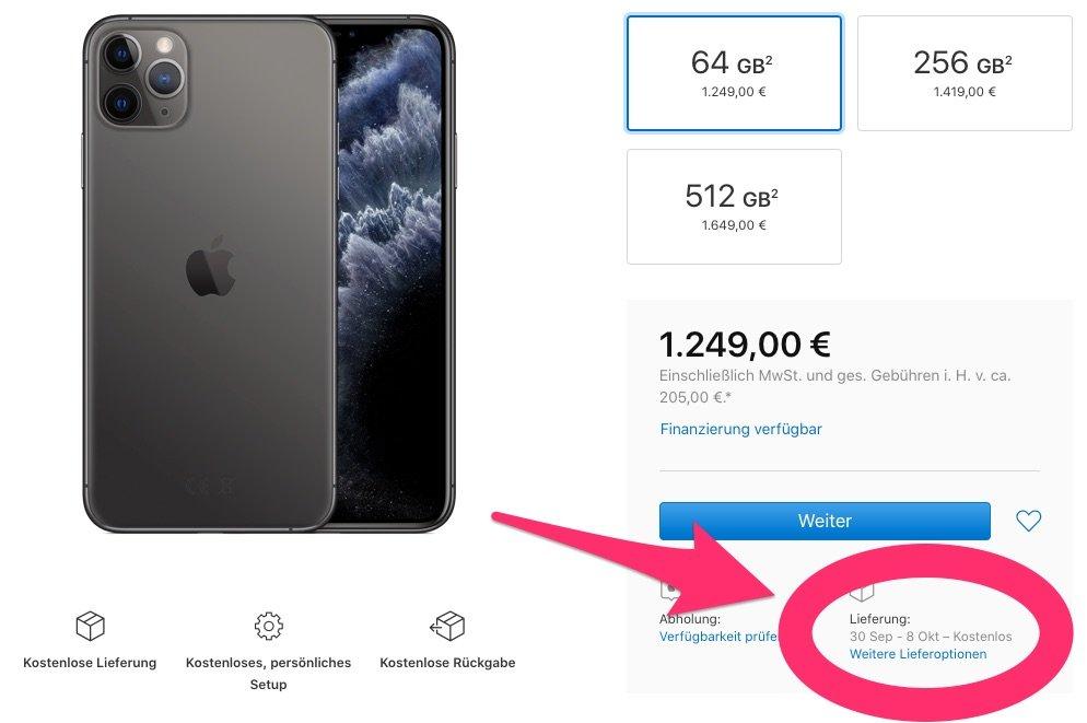 iPhone 11 Pro ausverkauft, iPhone 11 noch lieferbar zum 20. September 1