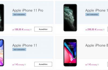 Telekom: iPhone 11 ab 1 Euro, iPhone 11 Pro (Max) ab 199 Euro verfügbar 12