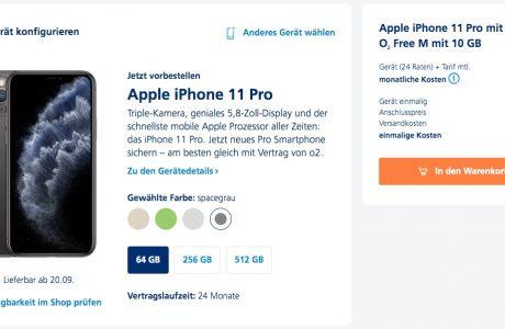 Kampf-Preise: Alle iPhone 11 (Pro Max) bei O2 für 1 Euro im O2 Free M! 11