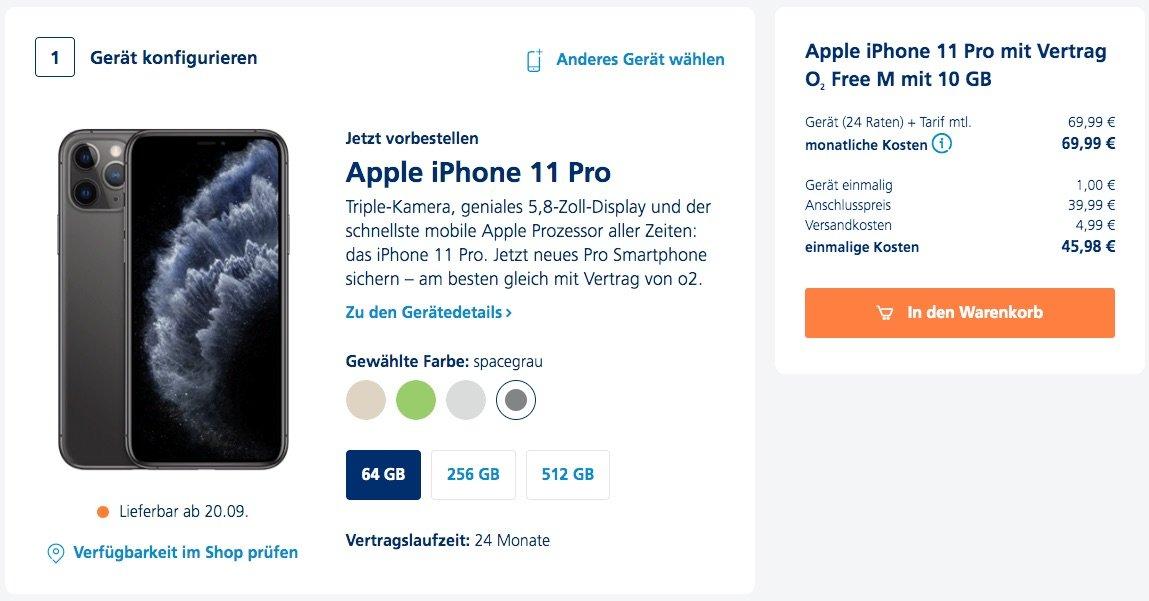 Kampf-Preise: Alle iPhone 11 (Pro Max) bei O2 für 1 Euro im O2 Free M! 1
