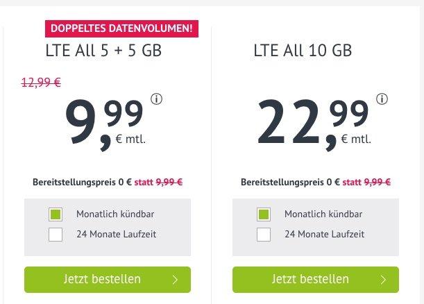 10 GB LTE & Allnet-Flat für 9,99 Euro monatlich 2