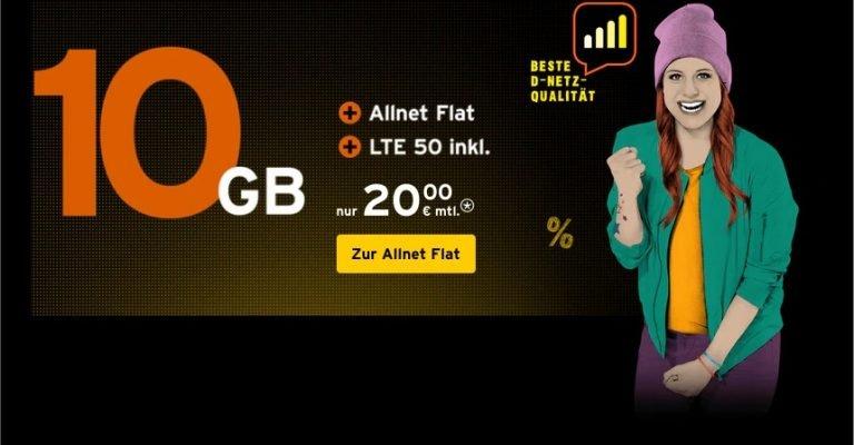 Congstar: 10 GB LTE Allnet Flat im Telekom D1-Netz für 20€ 1