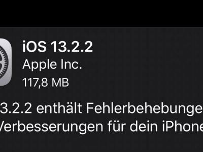 iOS 13.2.2 Changelog: behebt App Abstürze im Hintergrund 18