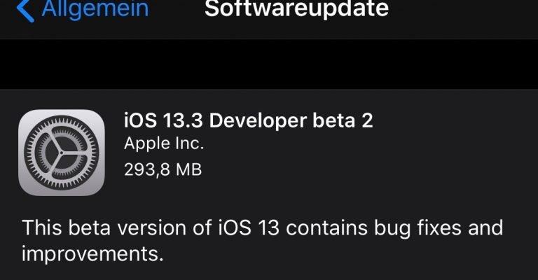 iOS 13.3, iPad OS 13.3, tvOS 13.3, watchOS 6.1.1 Beta 2 1