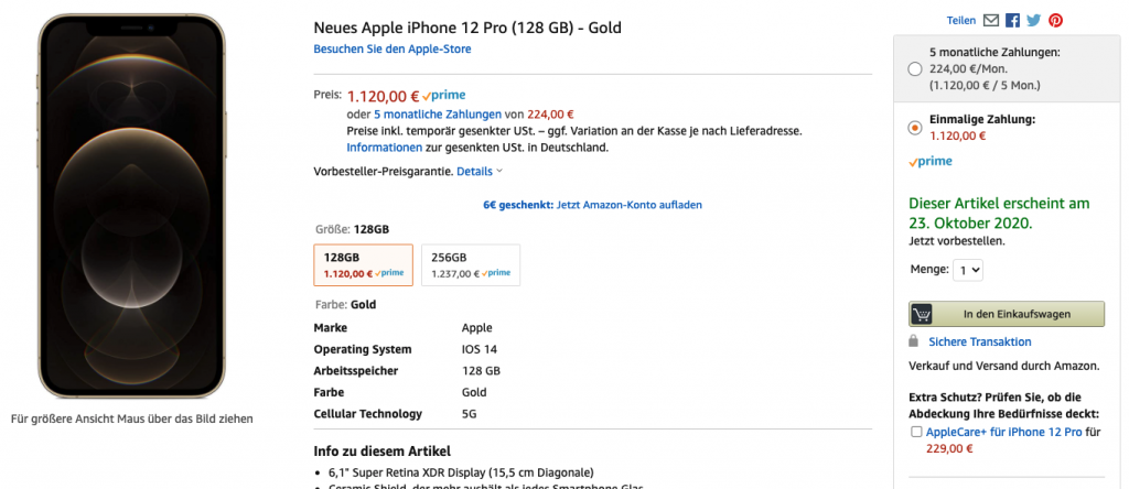 iPhone 12 Pro mit Verkauf & Versand durch Amazon 2