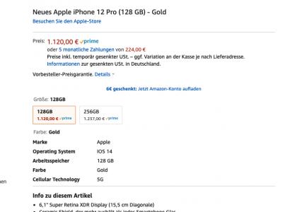 iPhone 12 Pro mit Verkauf & Versand durch Amazon 1
